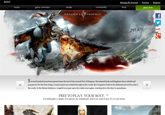 This is a Bootstrap responsive design for Dragon's Prophet, an MMO role-playing game (RPG) by Sony. You can see the tri-column layout and how it would responsively adapt for tablets and mobile.