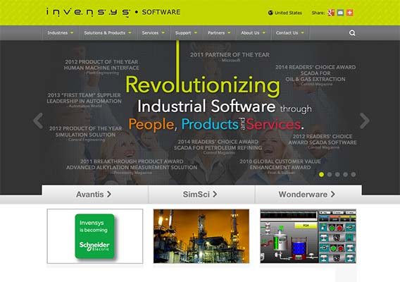 This responsive website was redesigned for Invensys (now Schneider Electric), a leading global provider of industrial software. Work included information architecture and Axure UI prototyping. Visit <a href='http://software.invensys.com' target='new'>software.invensys.com</a>.