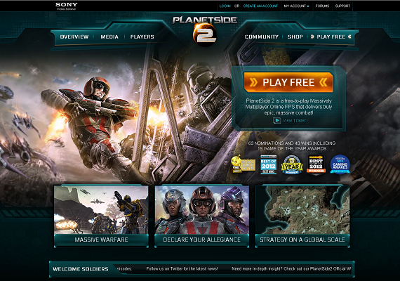 I did the information architecture and wireframe layouts for the website PlanetSide 2 (<a href='http://www.planetside2.com' target='_new'>www.planetside2.com</a>), an MMO first-person shooter (FPS) by Sony. This site gets 1 million visits per month and is one of Sony Online Entertainment's best-performing sites.